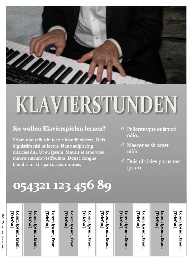 Flyervorlage Klavierstunden