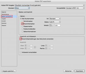 Einstellungen für PDF-Export in Indesign für Flyervorlage