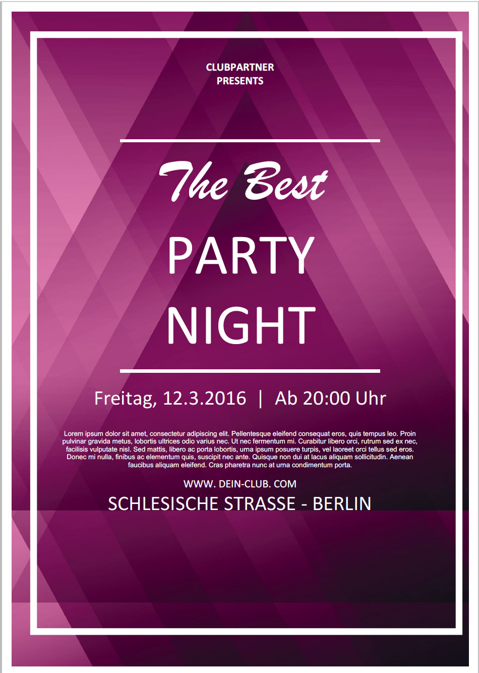 kostenloser party flyer in word flyer vorlagen. Black Bedroom Furniture Sets. Home Design Ideas