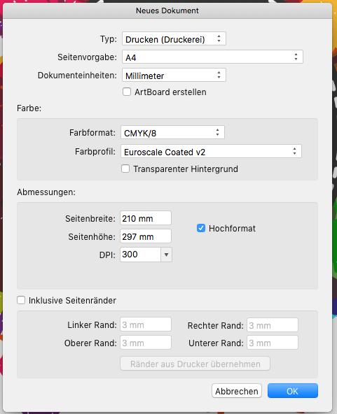 Affinity Designer - neues Dokument - Flyervorlage