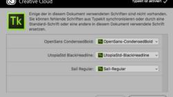 Type Kit schlägt Download von fehlenden Schriften vor