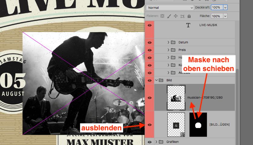 Ebenen-Maske in Photoshop verschieben